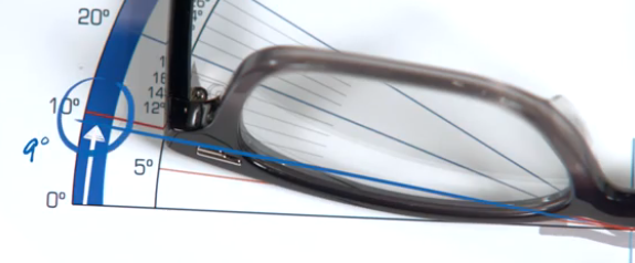 Measuring a frame wrap angle around a face for custom progressive lenses.