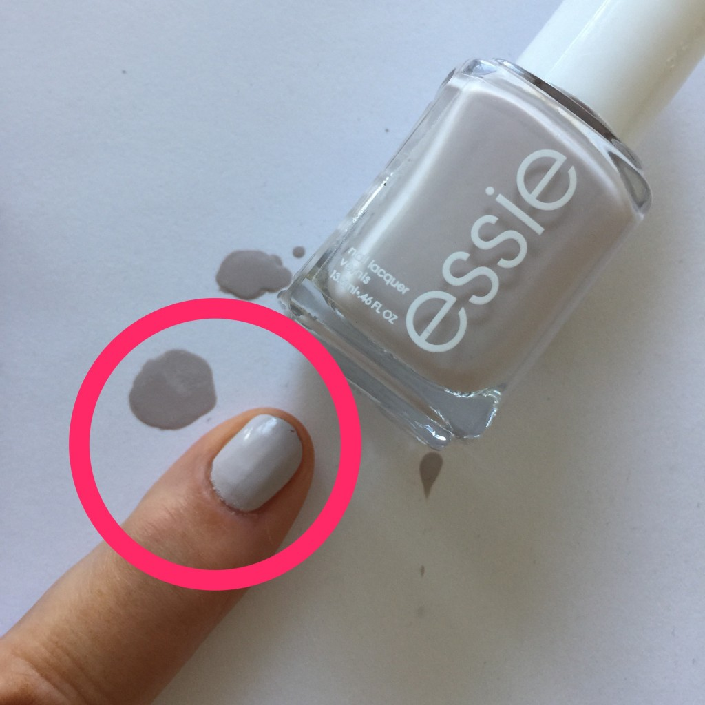 The same paint (nail lacquer Essie 66 in this case) looks darker on white background then on a finger.