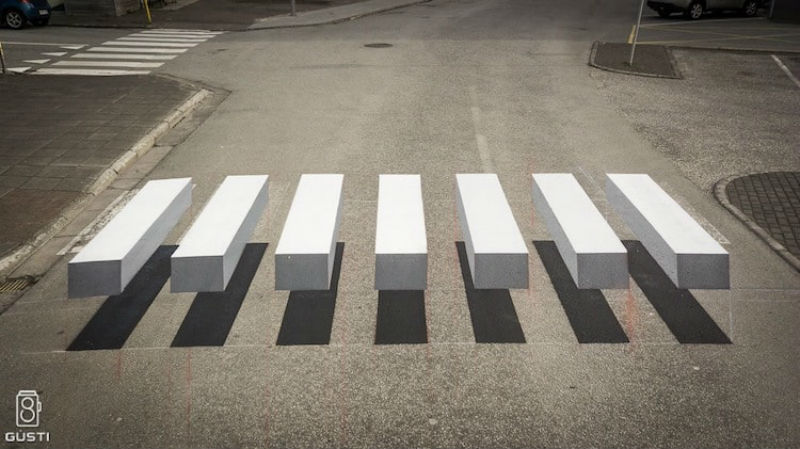 3D crosswalk in Ísafjörður ( Iceland ) helps slow down speeding motorists