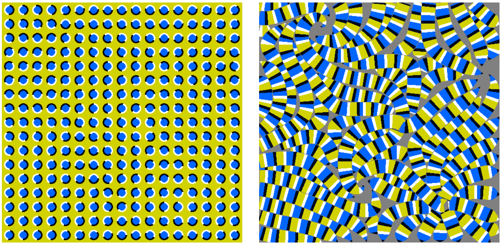 The picture appear to move  because of the arrangement of colors in the small small repeated patterns. Combination of 4 colors gives the best illusion. These 4 colors should be as different from each other as is possible