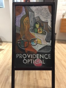 Our sidewalk sandwich board inspired by Caroline Abram and Juan Gris
