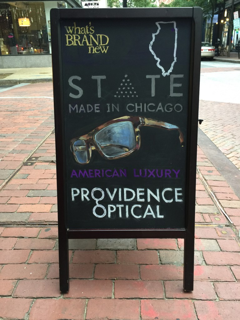State Optical chalkboard on Westminster St, Providence
