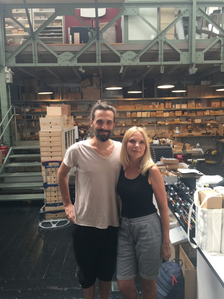 Eyewear designer Lucas de Staël and Onega Astaltsova at his workshop in Paris, July 2018